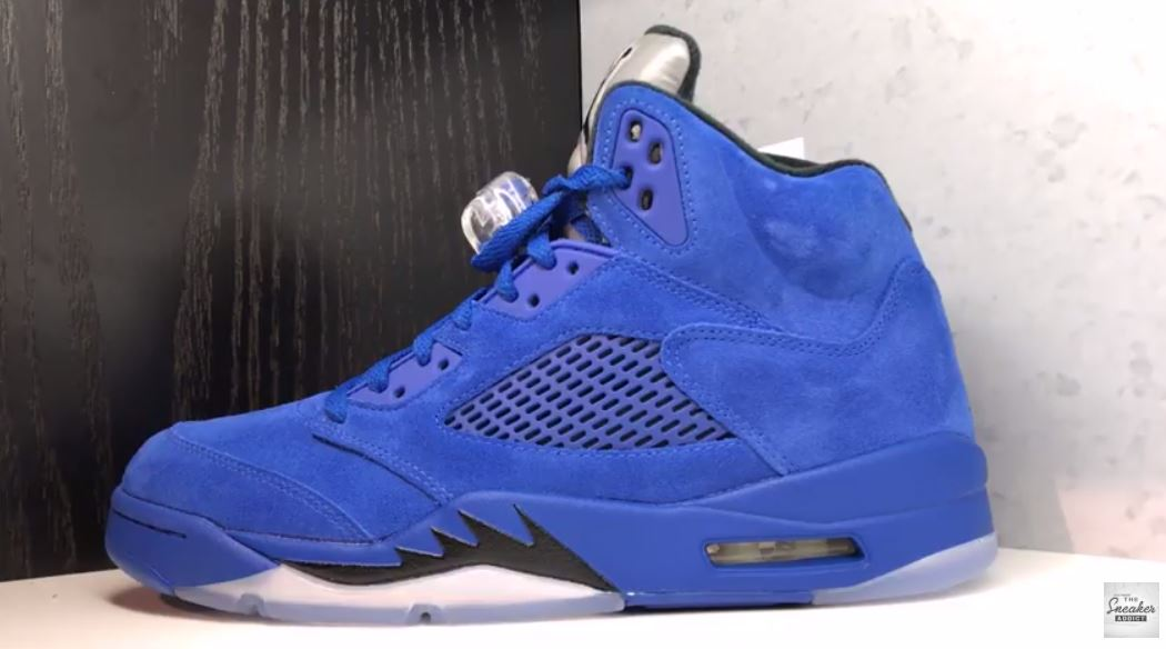 f57058ab865c70 THE SNEAKER ADDICT  Air Jordan 5 Blue Suede Retro Sneaker (Detailed ...