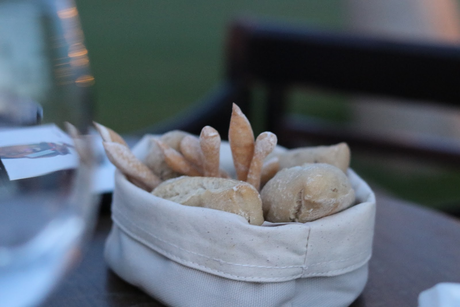 Bread basket at Katie Heath wearing a Boohoo at Trocadero in Sotogrande, Spain