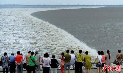 المد والجزر لنهر تشيانتانغ فى الصين