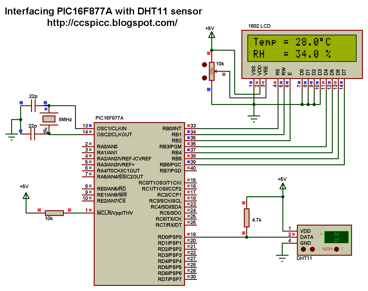 Interfacing PIC16F877A with DHT11 (RHT01) sensor Proteus