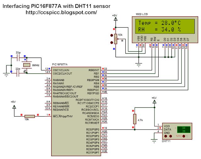 PIC16F877A DHT11 RHT01 Proteus simulation CCS PIC C dhtxx.mdf