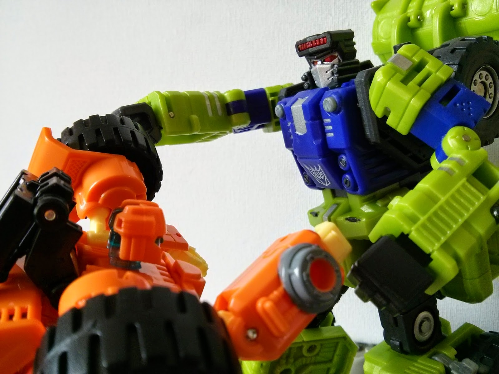 a battle of two construction bots!