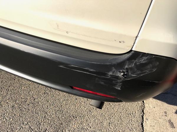 Rearended car bumper