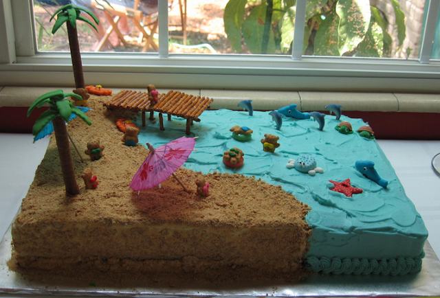 beach birthday cake decorations v1d
