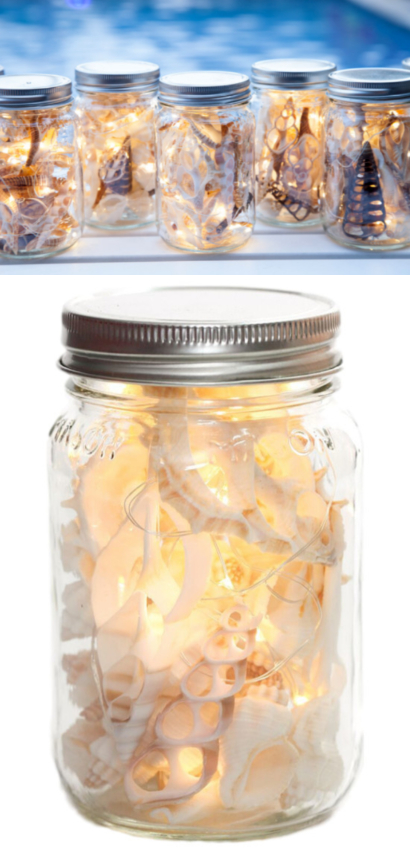Mason Jars with Seashell and Lights for Christmas and Year round