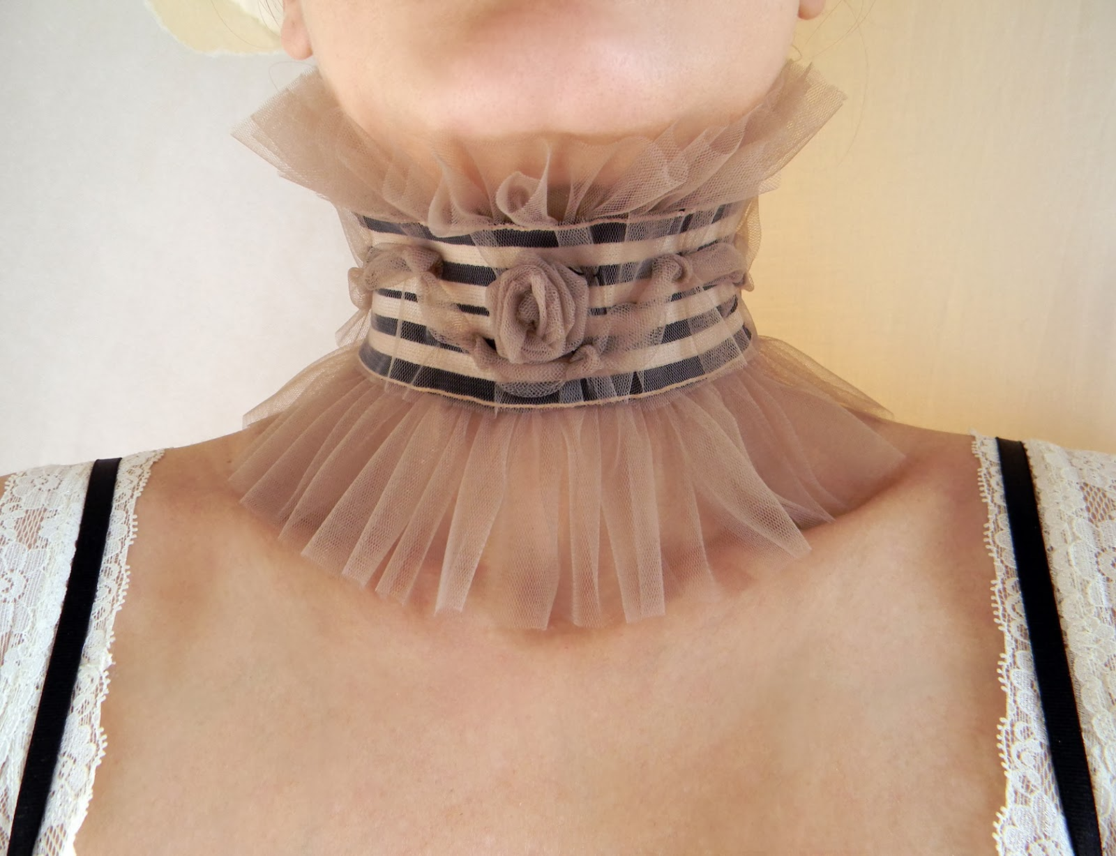 Unique Goth Victorian Ruffled Taupe NudeTulle Choker Textile Jewelry Fashion Accessories
