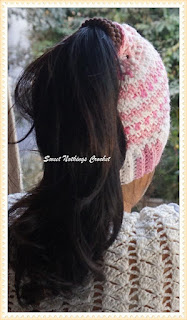 crochet messy bun cap, crochet headwear