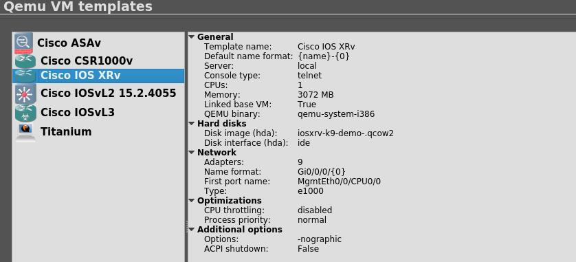 My Lab Notes: Cisco IOS-XRv and IOS XE CSR1000V qemu settings