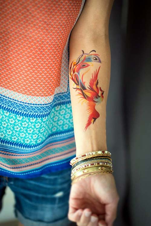 woman forearm phoenix tattoo kadın kol içi anka kuşu dövmesi
