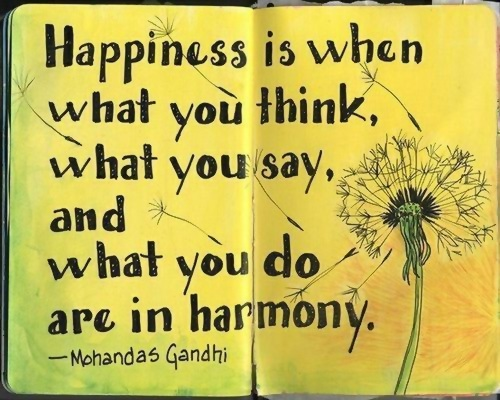 Happiness is when what you think, what you say, and what you do are in harmony. - Mohandas Gandhi