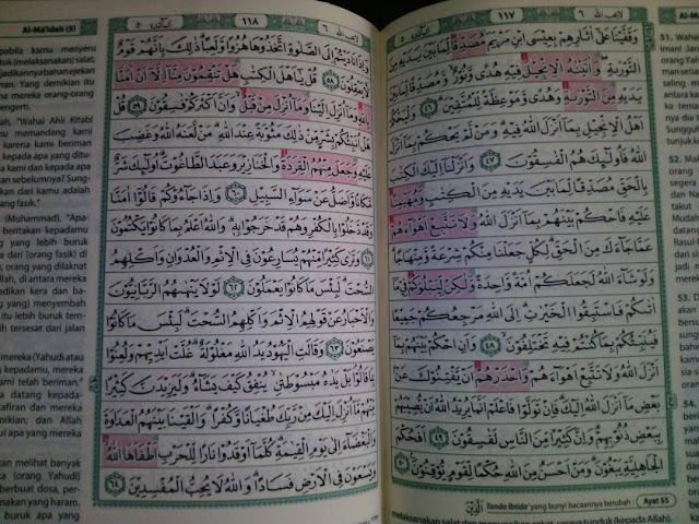 Foto mushaf Quran tanpa Surat Al Maidah 51 yang beredar di media sosial