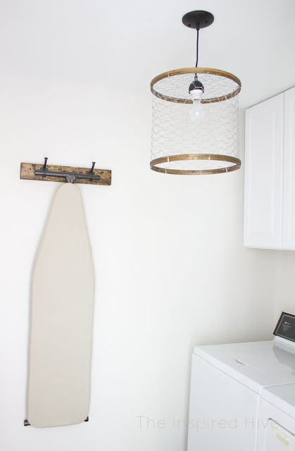How to make a rustic laundry room light fixture out of chicken wire