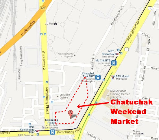 Map of Mo Chit, Bangkok showing the location of Chatuchak Weekend Market