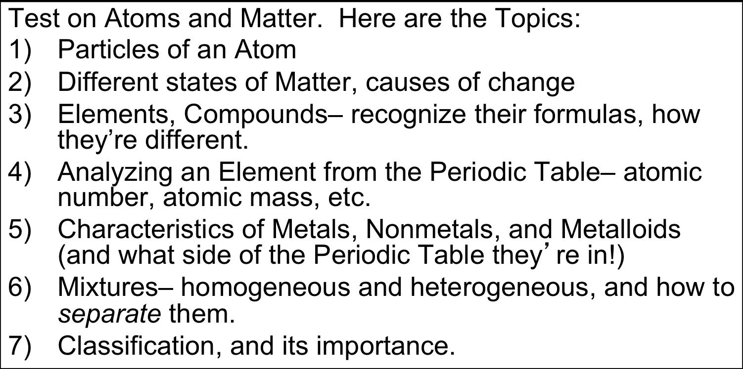 Mr Villas 7th Gd Science Class Topics On Matter Test Videos