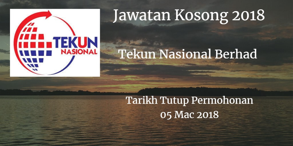 Jawatan Kosong Tekun Nasional Berhad 05 Mac 2018