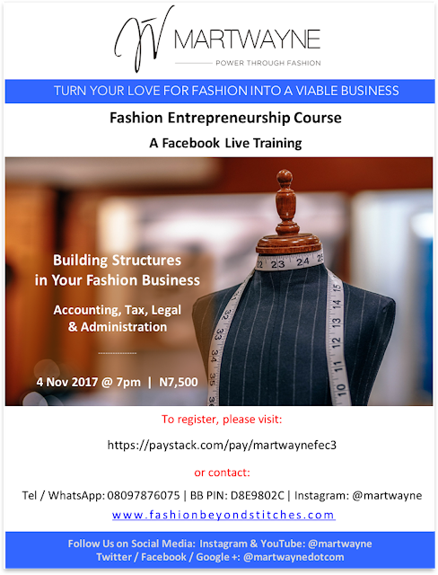Building Structures in Your Fashion Business (Accounting, Tax, Legal & Administration) – Our next LIVE Facebook Webinar coming up Saturday 4 November 2017!
