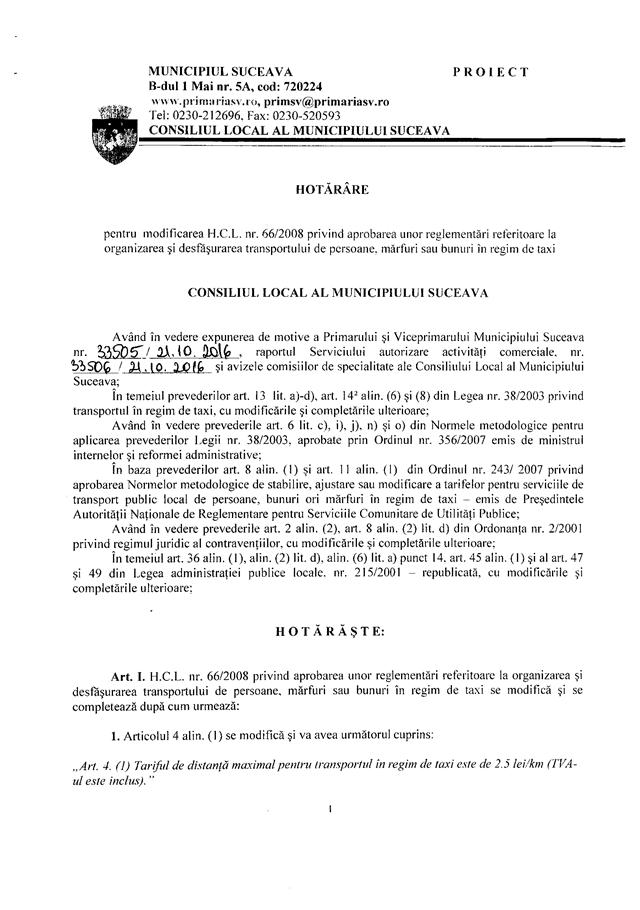 Consiliul Local majorează tariful TAXI la 2,5 lei pe kilometru