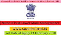 Maharashtra Public Service Commission Recruitment 2018 –22 Lower Grade Stenographer