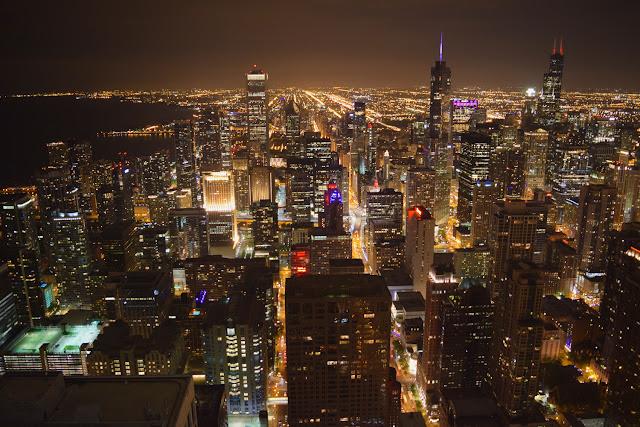 Chicago de noche - Vista desde el John Hancock Center