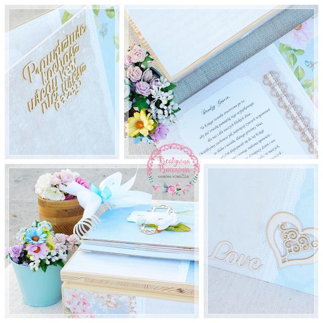 księga gości ręcznie robiona, handmade, scrapbooking, ślub