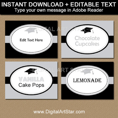graduation party supplies - silver and black printable buffet cards with editable text - digital download