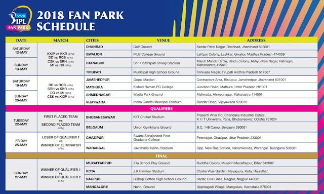 VIVO IPL 2018 Fan Park Schedule Image-2