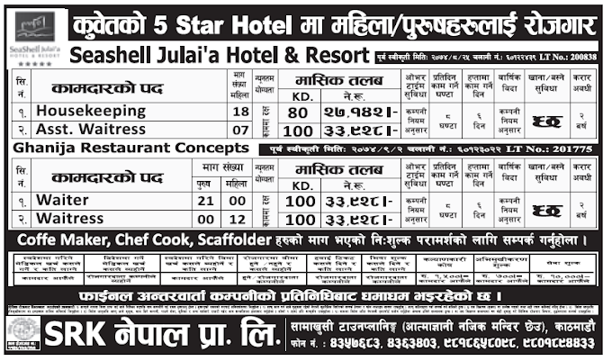 Jobs in Kuwait 5 Start Hotel for Nepali, Salary Rs 33,928