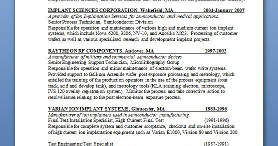 Senior Process Technician Sample Resume Format In Word Free Download