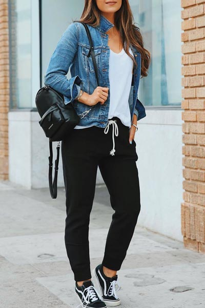 17 Fall Outfit Inspo That Will Make You Love This Season | Denim Jacket + Slim Tees + Pants + Vans Sneaker + Marc Jacobs Backpack