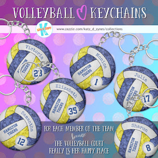 Girls' volleyball keychains by katzdzynes