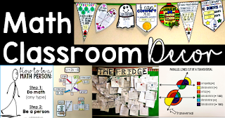 Looking for math classroom decoration ideas? In this post there are ideas for decorating elementary, middle and high school math classrooms.