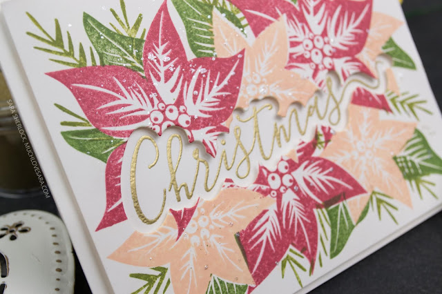 This pretty Christmas card is super easy to create, and a fun way to showcase a sentiment with a matching die.  Fun Stampers Journey Poinsettia Burst, and Holiday Script Stamps used.