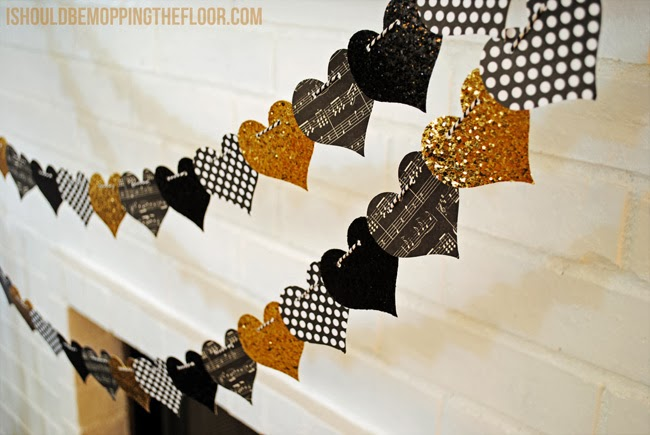 Glittery and Graphic Heart Garland | I Should be Mopping the Floor