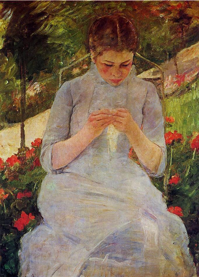 Jovem Mulher Costurando no Jardim - Pinturas de Mary Cassatt | Mulheres na pintura