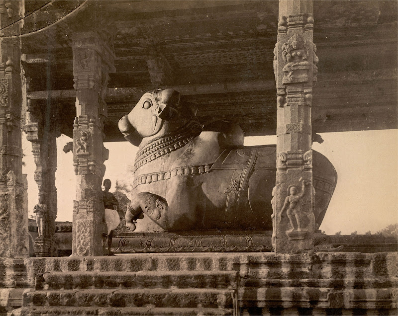 Pavilion with the Monolithic Bull Nandi in the Brihadishvara Temple complex at Thanjavur (Tanjore) - Tamil Nadu, Circa 1895