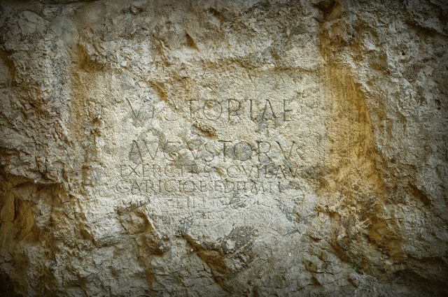 Trenčín, rzymska inskrypcja wyryta na skale