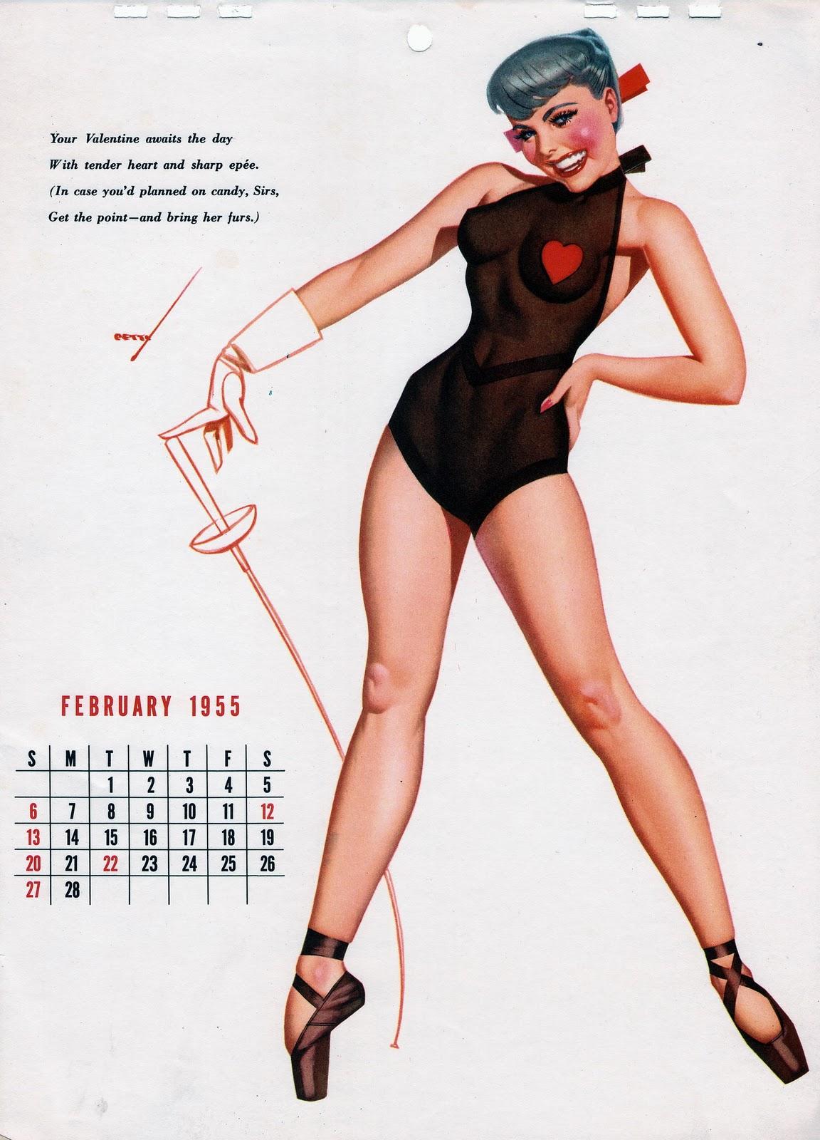 Pin Up Girl Art Vintage Wallpaper I M Not Old I M Vintage 1955 February Calendar Pin Up