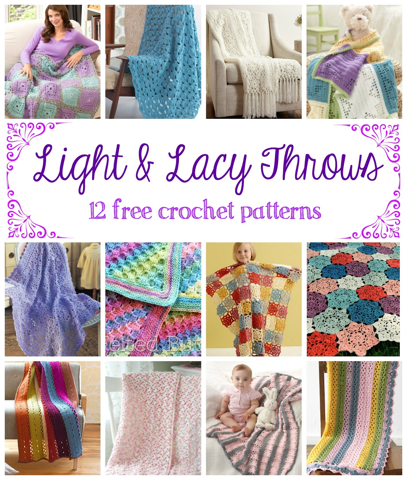 Fiber flux light and lacy throws 12 free crochet patterns 12 free crochet patterns bankloansurffo Gallery