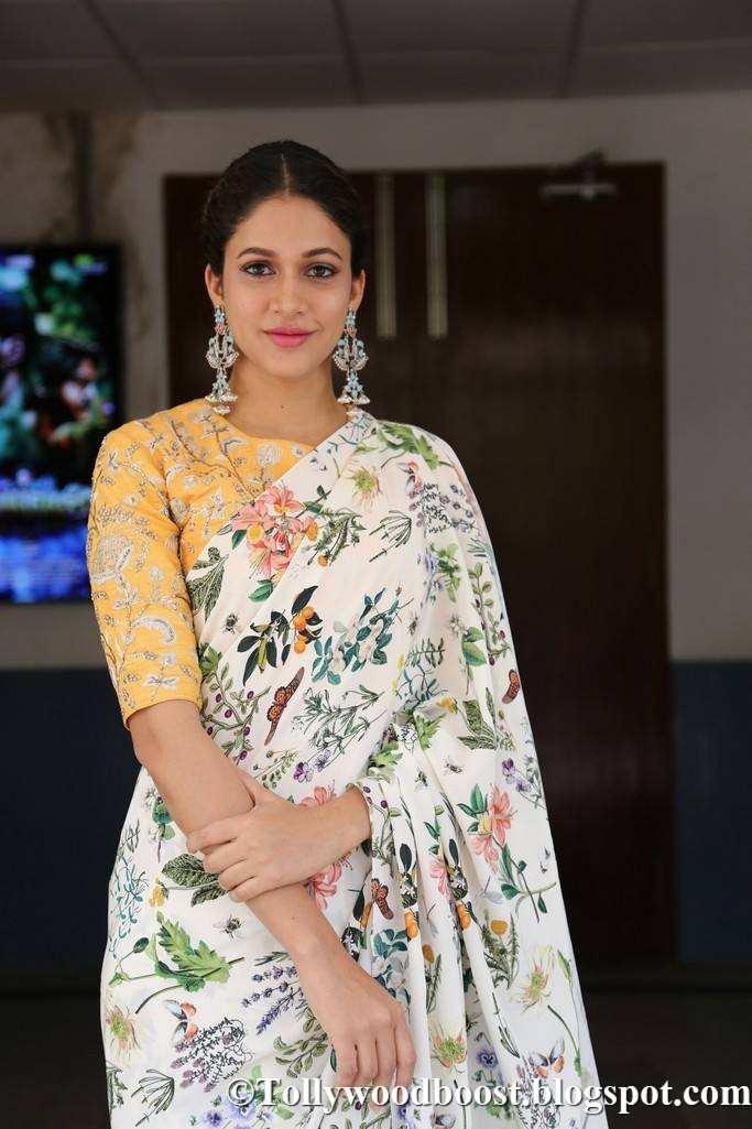 Lavanya Tripathi In White Saree At Telugu Film Audio Launch