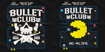 Bullet Club vs Pac-Man T-Shirt Collection by New Japan Pro Wrestling x Namco