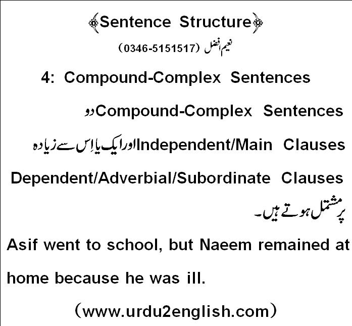 urdu 2 english sentence structure