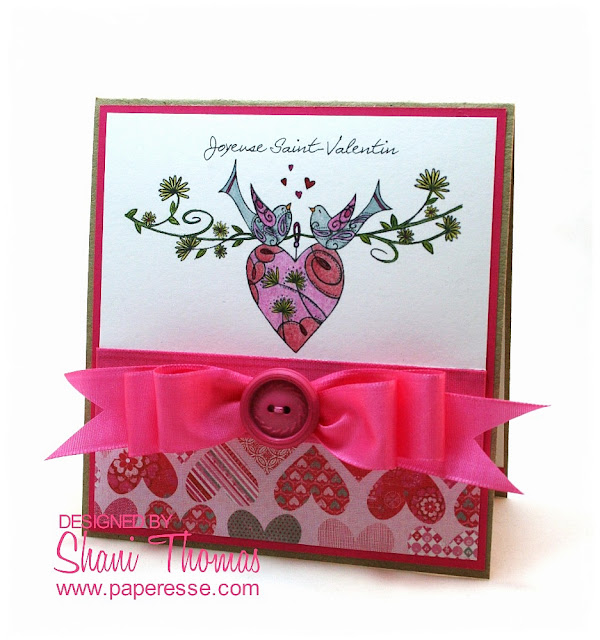 French sentiment Valentine's Day card with LC Designs Heart Birds digital stamp, design by Paperesse.