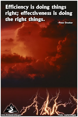 Efficiency is doing things right effectiveness is doing the right things. - Peter Drucker (thunderstorm with lightning)