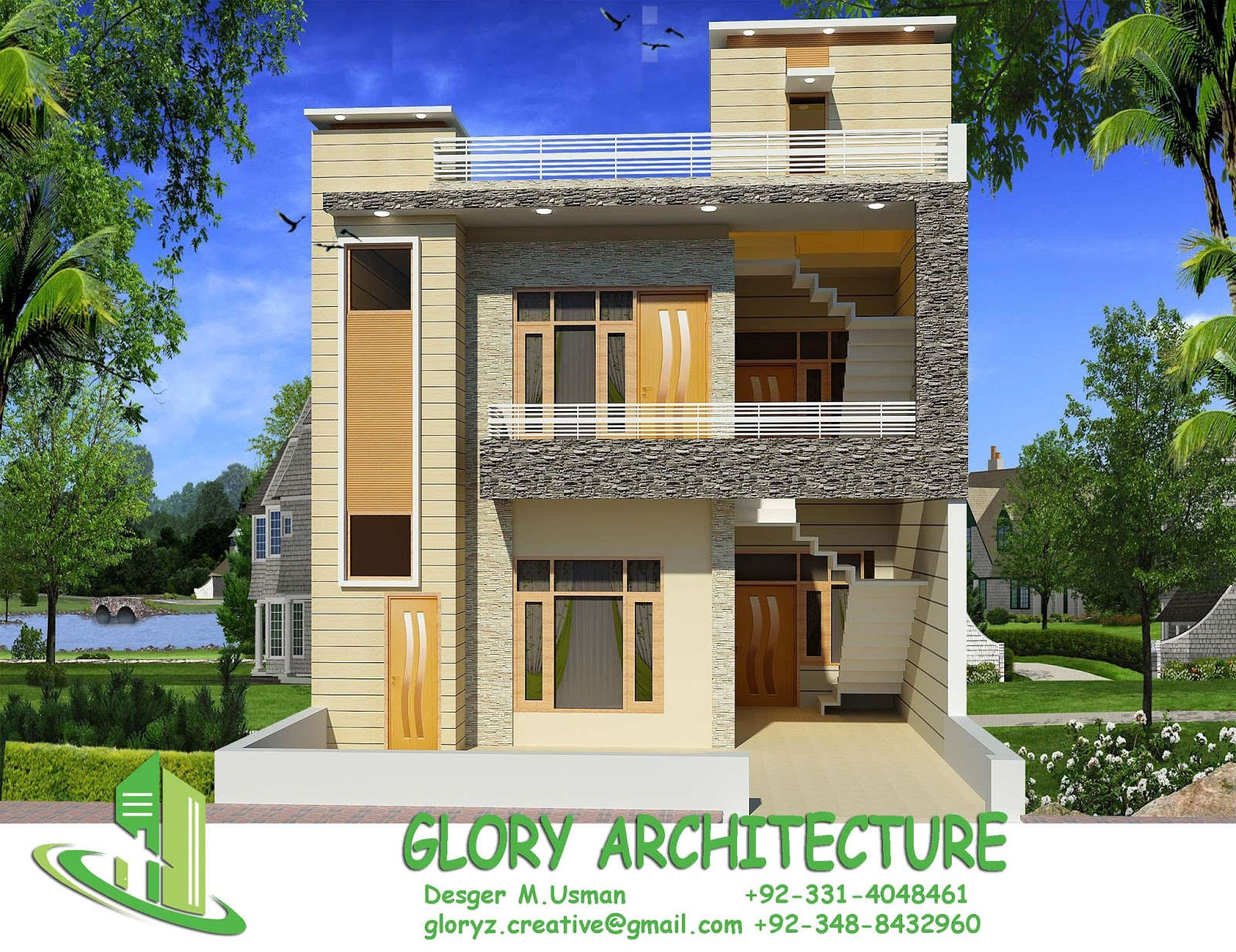 Front Elevation For 25 Feet Front : House plan elevation d view
