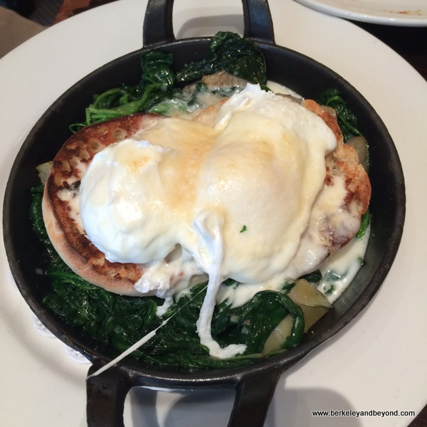 spinach poached eggs at Balthazar in NYC