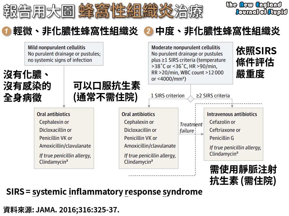 臨床藥學] 報告用大圖:蜂窩性組織炎治療流程(Treatment of