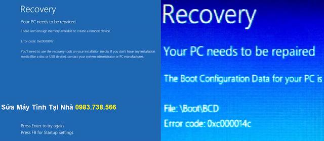 Lỗi màn hình xanh Recovery khi khởi động Win