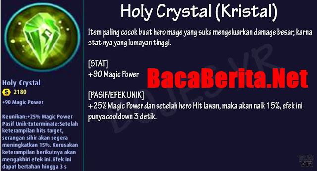 Fungsi item mage Holy Crystal Tears mobile legend