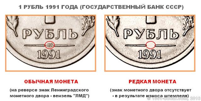 Редкий рубль 1991 года (ГКЧП)