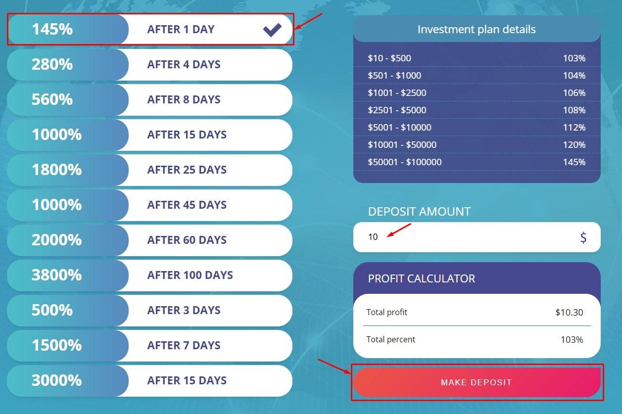 Создание депозита в Indigo Income Limited 3